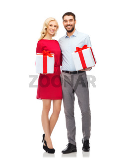 happy couple with gift boxes