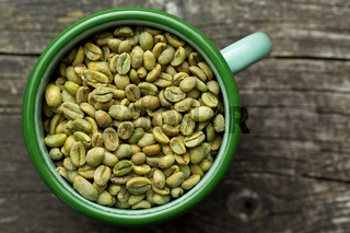 unroasted coffee beans in mug