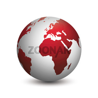 modern planet earth colored in red and gray