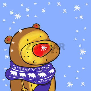 Illustration of cute bear with christmas scarf and doodle snowflakes
