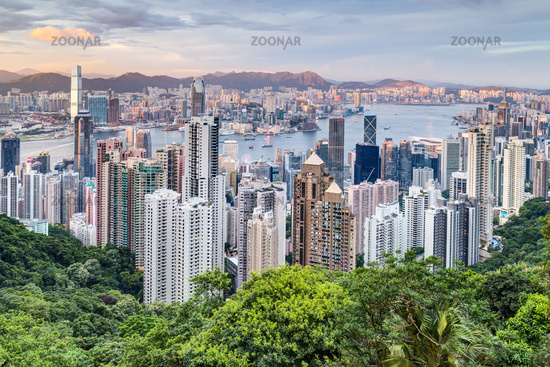 Skyline of Hong Kong from Victoria Peak at sunset