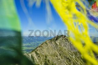 Panorama vom Geißalphorn, 1953m, zum Rubihorn, 1957m, Allgäuer Alpen, Allgäu, Bayern, Deutschland, Europa