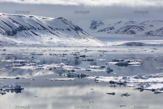Ice floes, edge of pack-ice, Arctic Ocean, Spitsbergen Island, Svalbard Archipelago, Svalbard and Ja