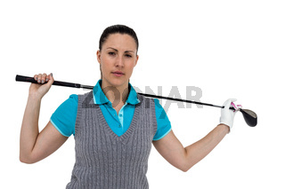 Golf player holding a golf club