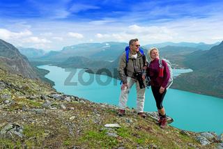 Backpackers at Besseggen ridge at Jotunheimen national park