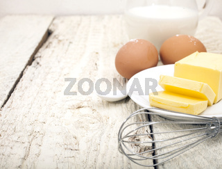 Eggs, milk and butter