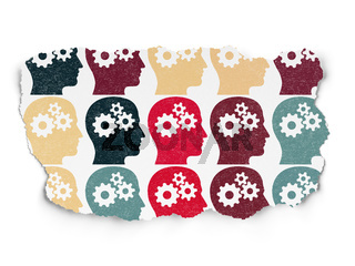 Finance concept: multicolor Head With Gears icons on Torn Paper background