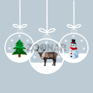Modern flat design of Christmas balls with reindeer, pine tree and snowman