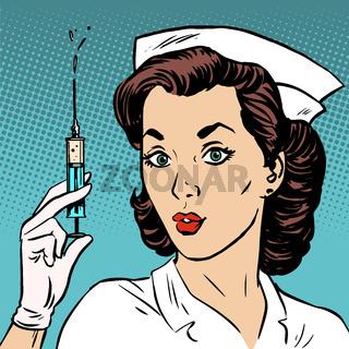 Retro nurse gives an injection syringe medicine health