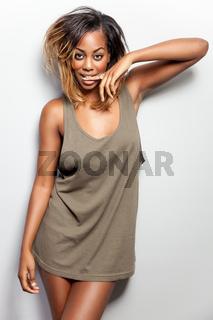 Young beautiful woman wearing a tank top