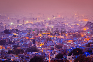 Aerial view of Jodhpur in twilight