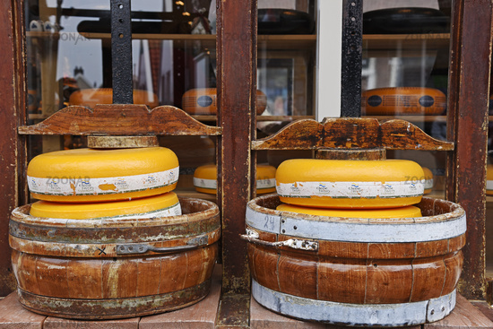 cheese wheels, cheese shop, Volendam, Edam, The Netherlands, Europe