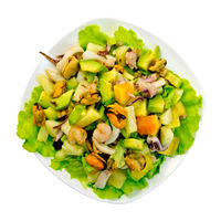 Salad seafood and avocado in plate on top