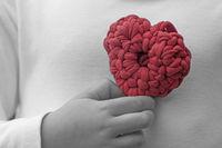 Valentine crochet decorations crochet heart chest back and white