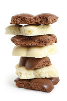 Stack of porous chocolate pieces