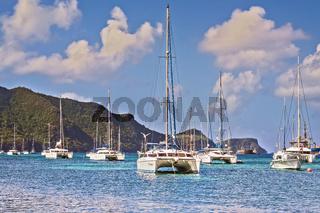 Catamarans In The Bay Port Elizabeth Grenadines St Vincent West Indies