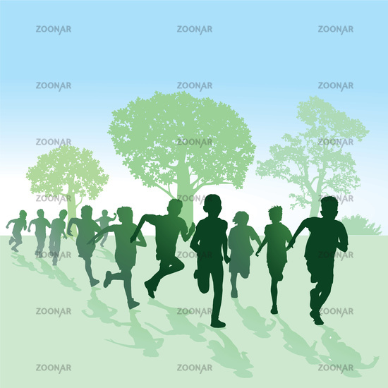 Children running in nature