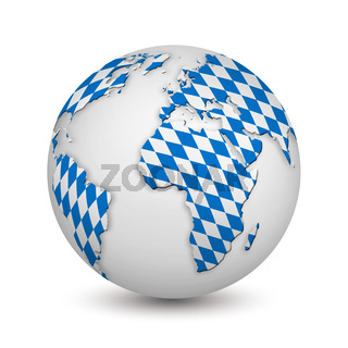 earth with Bavarian flag as a symbol for the Oktoberfest
