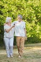 Zufriedenes Senioren Paar geht spazieren