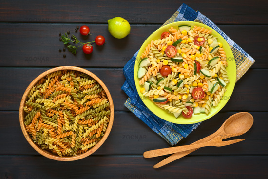 Raw Fusilli and Vegetarian Pasta Salad