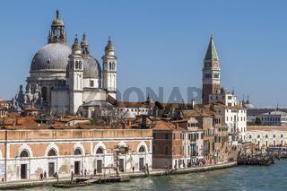 St Mark's Campanile and Basilica Of Santa Maria Della Salute Venice Italy