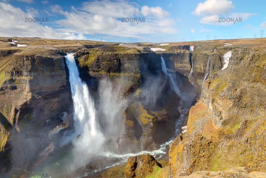 The two waterfalls Haifoss and Grannifoss in Icela
