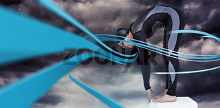 Composite image of swimmer in wetsuit preparing to dive
