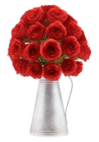bouquet of red roses in metallic vase isolated on white background