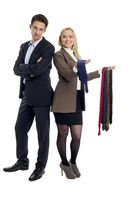 Husband and wife choose a tie from