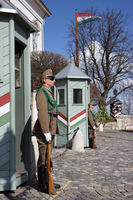 the guard at the castle in Budapest