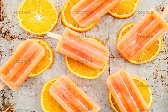 Frozen orange popsicles