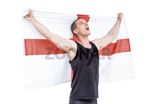 Athlete holding england national flag