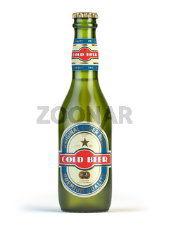 Beer bottle with label 'cold beer' isolated on white.