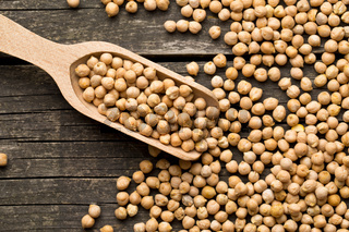 uncooked chickpeas in scoop