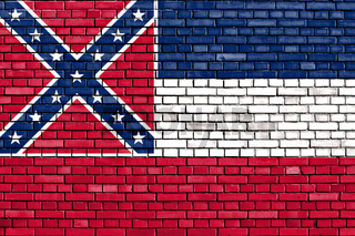 flag of Mississippi painted on brick wall