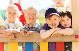 group of happy kids on children playground
