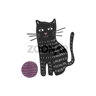 Illustration with doodle cat and yarn ball