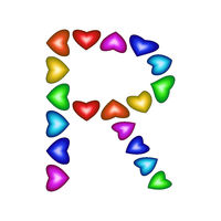 Letter R made of multicolored hearts on white background