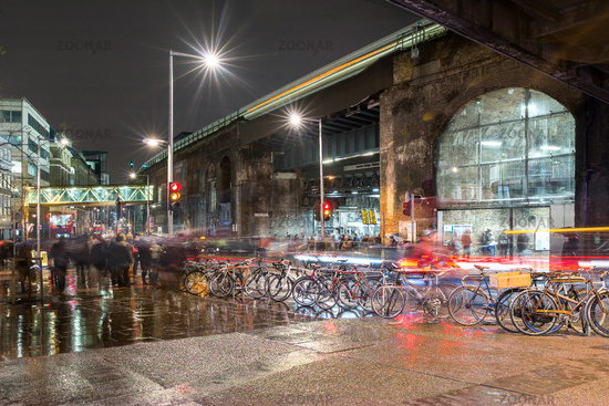 Bicycles and commuters at London Bridge Station, London, United Kingdom