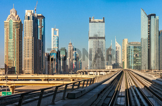 Dubai#39;s Metro with skyscrapers