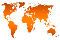 orange gradient world map, isolated