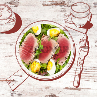 Delicious tuna steak with salad.