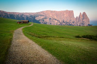 Hiking trail with Schlern mountain, Seiser Alm, South Tyrol, Italy