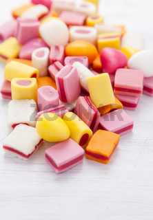 Delicious colorful sweet candy with copy space