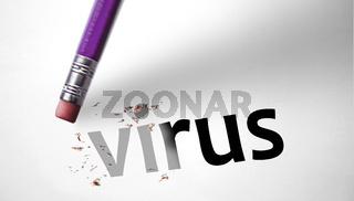 Eraser deleting the word Virus