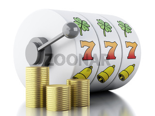 3d Slot machine with gold coins. Casino concept.