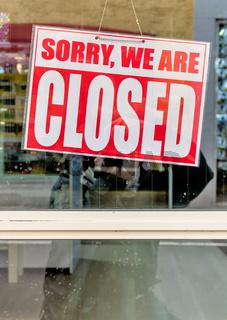 Schild sorry we are closed