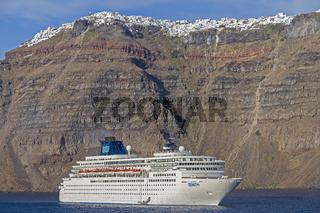 Cruise Ship Moored At Thera Santorini Greece