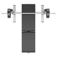 top view of gym flat weight bench with barbell
