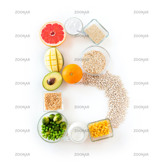 close up of food ingredients in letter b shape
